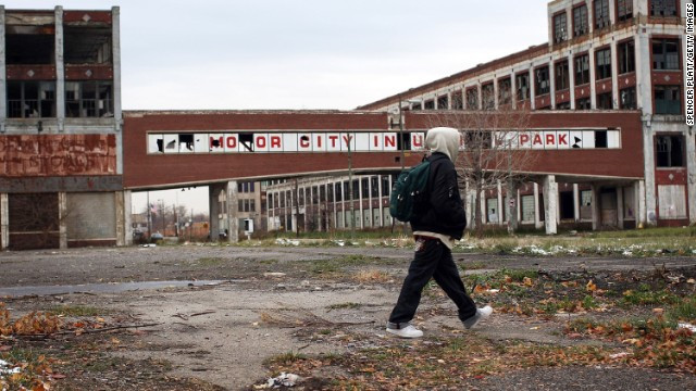 FILE - JULY 18: The City of Detroit has filed for Chapter 9 bankruptcy protection. DETROIT - NOVEMBER 19: a person walks past the remains of the Packard Motor Car Company, which ceased production in the late 1950`s, November 19, 2008 in Detroit, Michigan. The Big Three U.S. automakers, General Motors, Ford and Chrysler, are appearing this week in Washington to ask for federal funds to curb to decline of the American auto industry. Detroit, home to the big three, would be hardest hit if the government lets the auto makers fall into bankruptcy. (Photo by Spencer Platt/Getty Images)