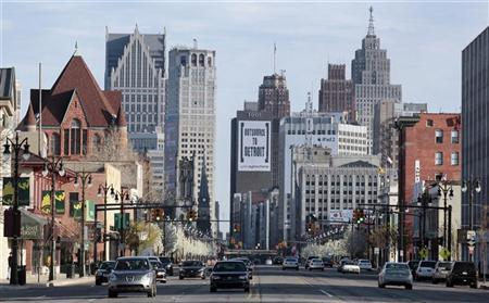 Downtown Detroit is seen along Woodward Ave in Detroit, Michigan April 2, 2012. REUTERS/Rebecca Cook